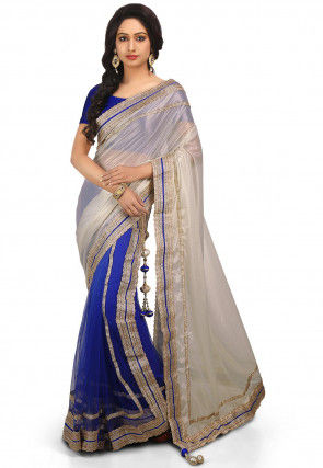 Two Part Lycra Shimmer and Net Saree in Off White and Blue