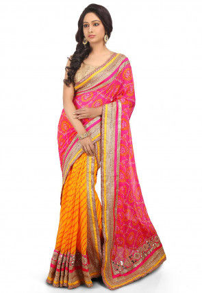 Two Part Georgette Saree in Pink and Yellow