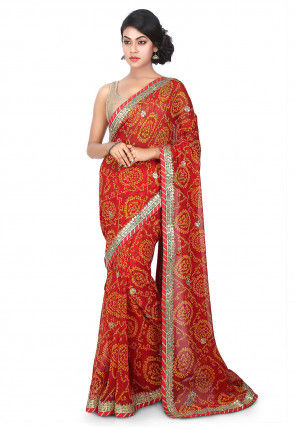 Bandhej Georgette Saree in Red