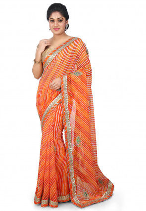Embroidered Georgette Saree in Orange