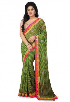 Lehariya Georgette Saree in Green