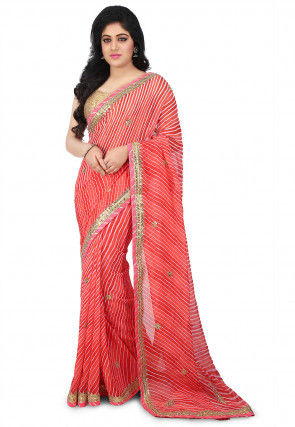 Lehariya Georgette Saree in Coral Red