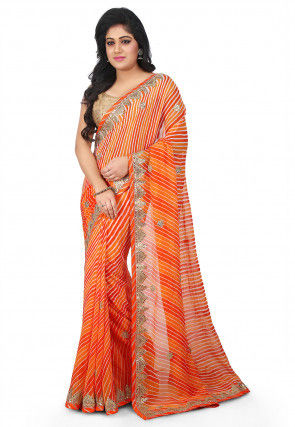 Lehariya Georgette Saree in Orange