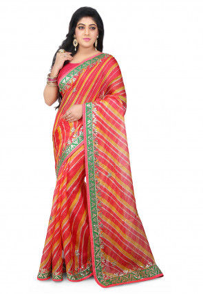 Lehariya Pure Kota Silk Saree in Coral and Yellow
