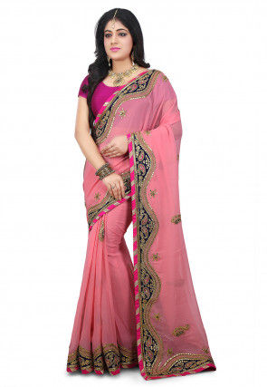 Pure Gota Patti Georgette Saree in Pink