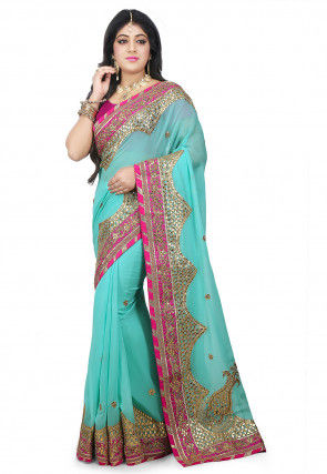 Pure Gota Patti Georgette Saree in Light Blue