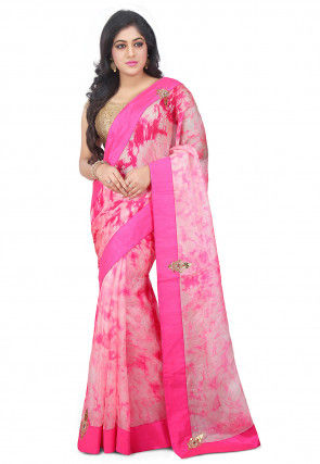 Pure Shibori Kota Silk Saree in Pink