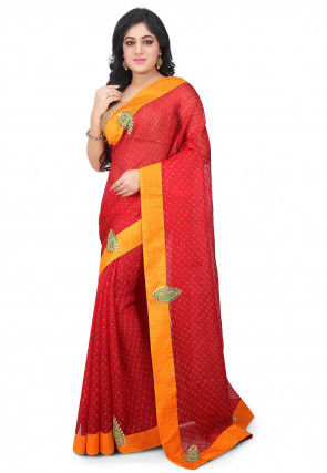 Pure Lehariya Kota Silk Saree in Red