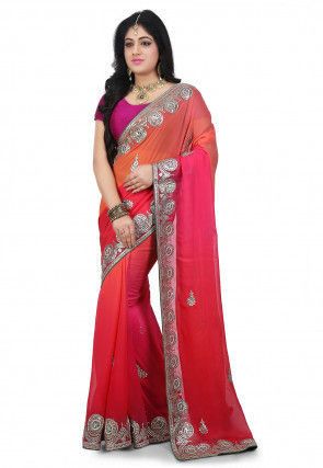 Gota Patti Georgette Saree in Peach and Pink