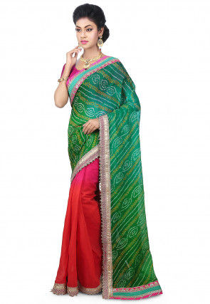 Pure Chinon Crepe Bandhej Saree in Teal Green and Orange