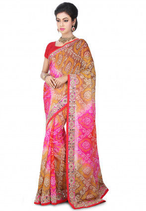 Pure Chinon Crepe Bandhej Saree in Shaded Beige and Pink