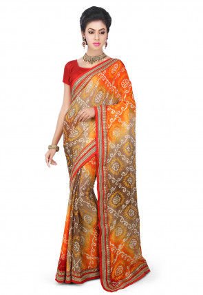 Pure Chinon Crepe Bandhej Saree in Orange and Beige