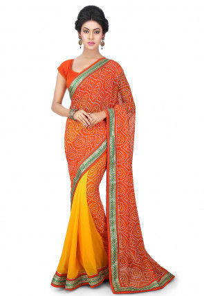 Bandhej Printed Georgette Half N Half Saree in Orange