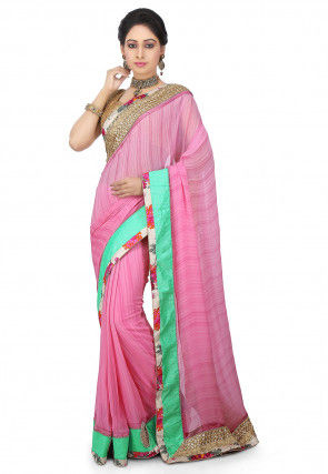 Plain Georgette Saree in Pink