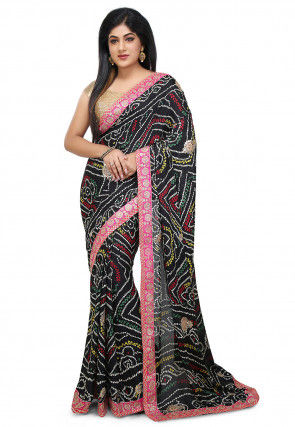 Bandhej Crepe Saree in Black