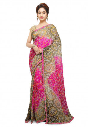 Bandhej Pure Chinon Crepe Saree in Shaded Beige and Fuchsia