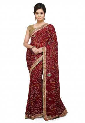 Bandhej Crepe Saree in Maroon
