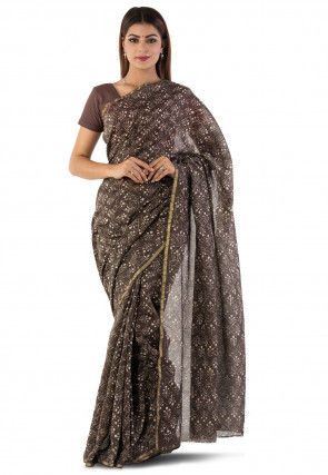 Dabu Printed Chanderi Cotton Saree in Brown