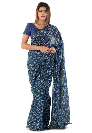 Dabu Printed Chanderi Cotton Saree in Blue