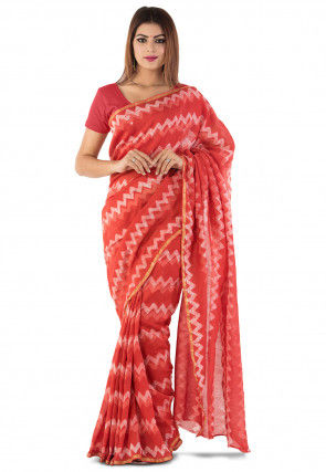 Dabu Printed Chanderi Cotton Saree in Red