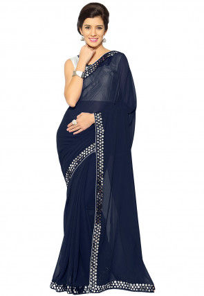 Embroidered Bordered Georgette Saree in Navy Blue