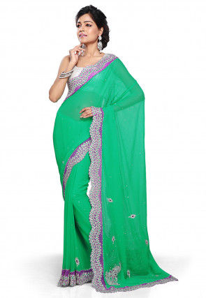 Embroidered Chiffon Saree in Teal Green