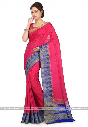 Kanchipuram Silk Saree in Fuchsia