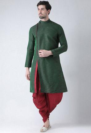 Slitted Dupion Silk Dhoti Kurta in Dark Green