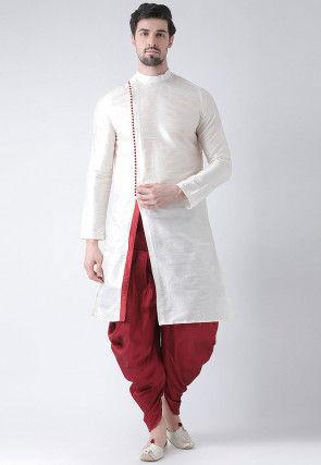 Slitted Dupion Silk Dhoti Kurta in Off White