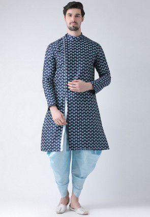 Slitted Dupion Silk Kurta in Navy Blue