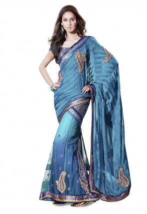 Embroidered Lehenga Style Brasso Saree in Blue