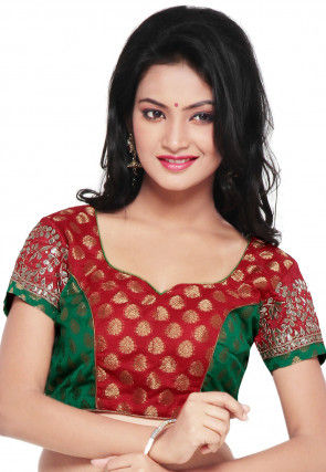 Embroidered Chanderi Silk Brocade Blouse in Red and Green
