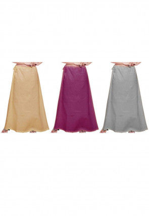 Combo Set Cotton Petticoat in Beige, Purple and Grey