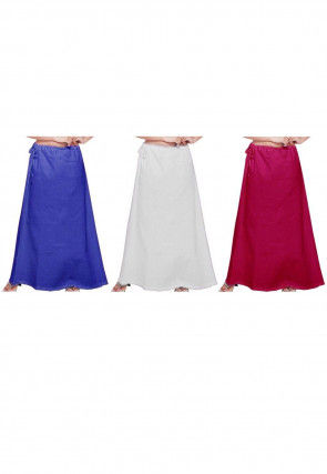 Combo Set Cotton Petticoat in Blue, White and Fuchsia
