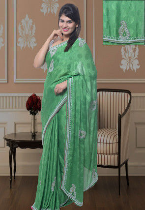 Embroidered Crepe Jacquard Saree in Green