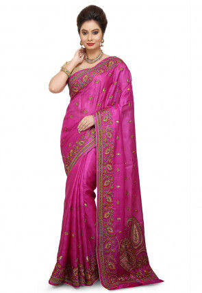Pure Silk Embroidered Saree in Fuchsia