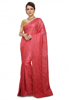 Pure Silk Embroidered Saree in Coral Pink