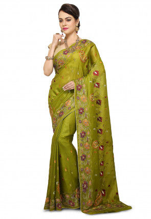 Pure Silk Embroidered Saree in Olive Green