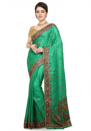 Pure Silk Embroidered Saree in Teal Green