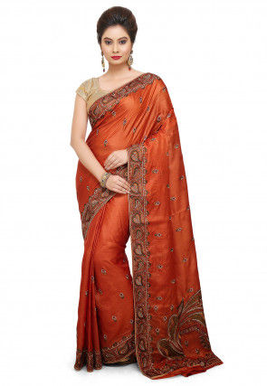 Pure Silk Embroidered Saree in Rust