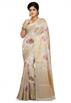 Pure Silk Saree in Off White