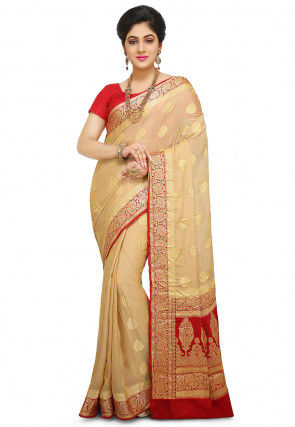 Pure Georgette Saree in Beige