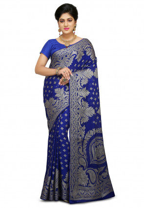 Pure Georgette Saree in Royal Blue