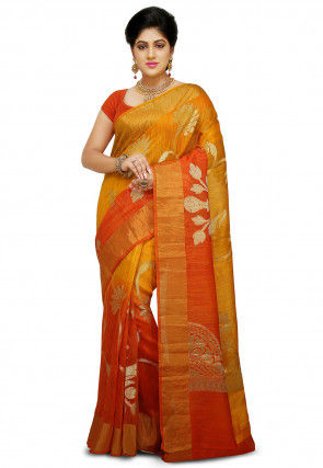 Pure Matka Silk Saree in Mustard and Orange