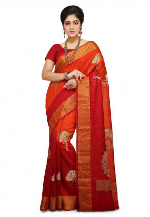 Pure Matka Silk Saree in Orange and Red