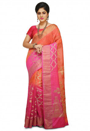 Pure Matka Silk Saree in Orange and Pink