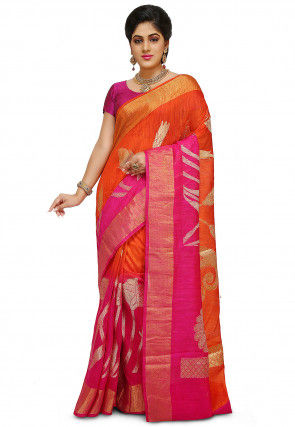Pure Matka Silk Saree in Orange and Fuchsia