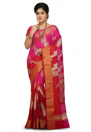 Pure Matka Silk Saree in Fuchsia and Red