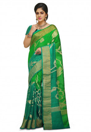 Pure Matka Silk Saree in Green and Teal Green