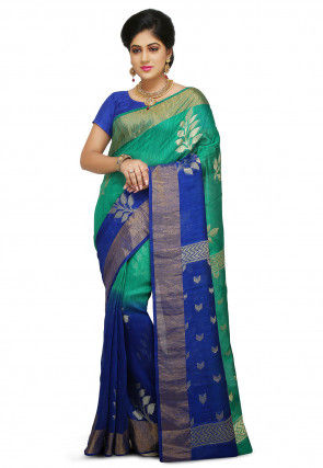 Pure Matka Silk Saree in Teal Green and Royal Blue